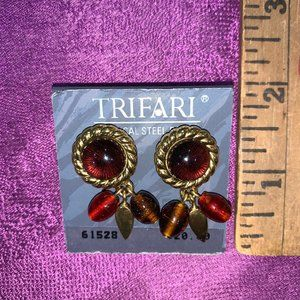 Trifari deep red and gold tone earrings